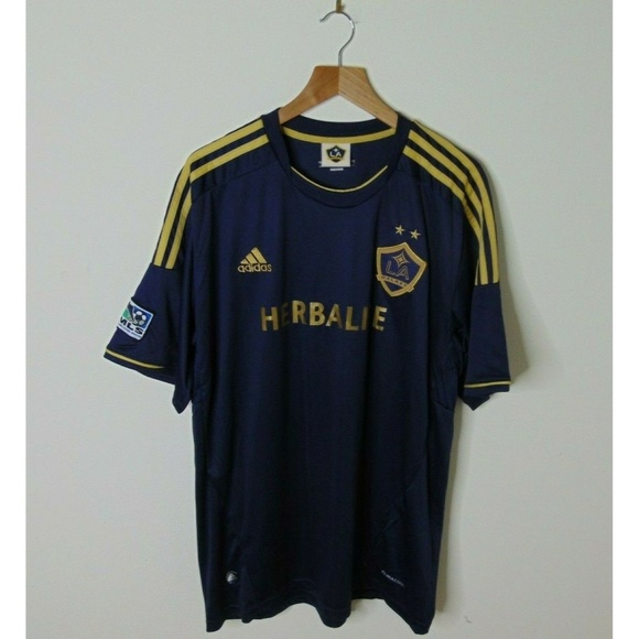 finest selection 565c7 4d3aa Adidas Xl LA Galaxy Soccer Jersey Blue Gold #34
